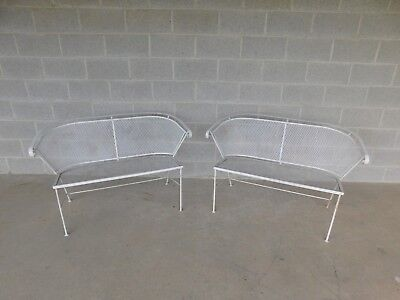 Vintage Wrought Iron Mid - Century Style Bench - a Pair