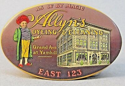 rare vintage ALLYN'S DYEING & CLEANING Portland OREGON celluloid pocket mirror
