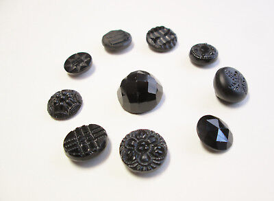 Beautiful VINTAGE LOT 10/$10 Small Patterned Black Glass Collectors Buttons #4