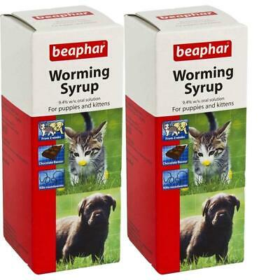 Beaphar Roundworm WORMING SYRUP Choc Puppy Kitten Wormer Treatment 45ml X 2