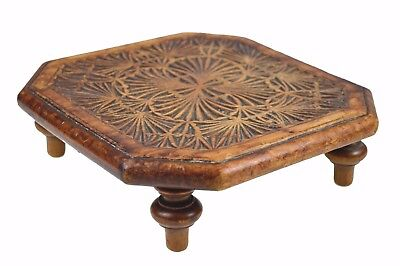 Vintage Frisian Chip Carved Footed Fireplace Trivet or Stand, Dutch.