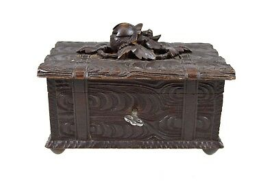 Antique  Black Forest Hand Carved Jewellery or Trinket Box, Germany.