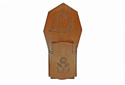 Antique Frisian Chip Carved Hanging Utility or Candle Box, Dutch, Art Deco.