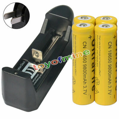 4pcs 18650 3.7V 9800mAh Li-ion Rechargeable Battery cell for LED Torch + Charger