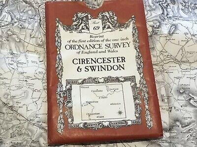 Victorian reprint Ordnance Survey Map 69 Cirencester & Swindon cartographed 1828