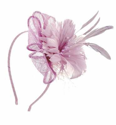 Sinamay Flower Fascinator With Feathers Net Beads PomPom Alice Band