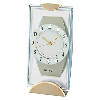 Seiko Gold Tone Mantle Mantel Quartz Battery Clock with Full figure Arabic Dial