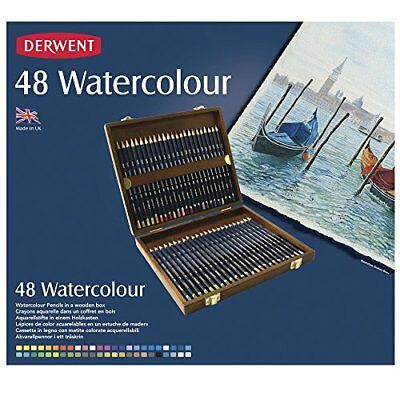 Derwent Watercolour Pencils, Set of 48 in Wooden Gift Box, Professional Quality,