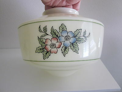 Vintage CEILING SHADE Custard Glass w/ Flowers Light Fixture Lamp Globe Antique