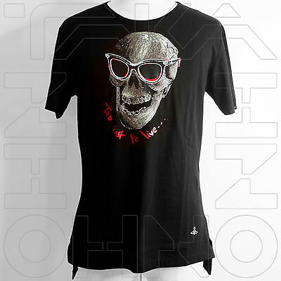 VIVIENNE WESTWOOD MAN JAPAN CHEST 38.5 TOO FAST TO LIVE T-SHIRT COTTON skull orb