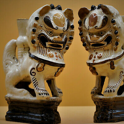 17th Century -  Pair Chinese VERY RARE Genuine Antique LION DOGS Incense Holders