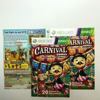 (MANUAL AND ARTWORK ONLY)(NO GAME) XBOX 360-Carnival Games: Monkey See, Monkey