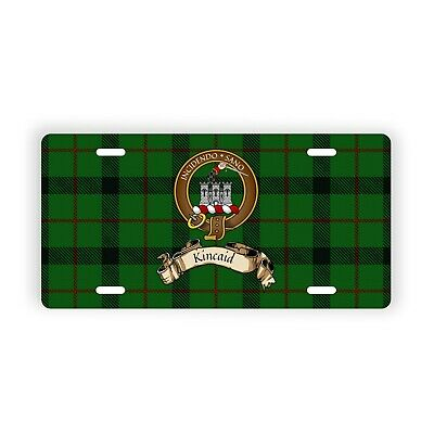 Kincaid Scottish Clan Tartan Novelty Auto Plate with Crest and Motto