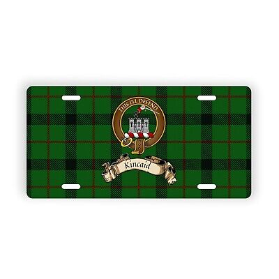 Kincaid Scottish Clan Tartan Novelty Auto Plate with Crest and English Motto