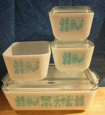 7 piece Pyrex Amish Butterprint Refrigerator Dishes 501 502 503 lot 5