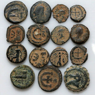 Nice Lot of 15 Ancient Greek Roman And Byzantine Coins