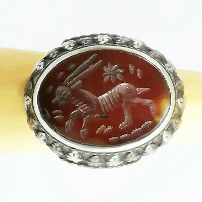Ancient Lovely Deer Intaglio Carnelian Agate Stone Solid Silver Ring 925 #A61