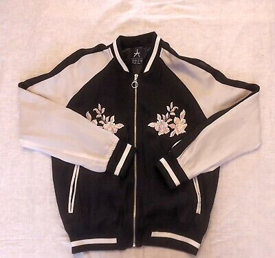 Ladies Atmosphere satin bomber jacket with floral embellishment size 12 VGC