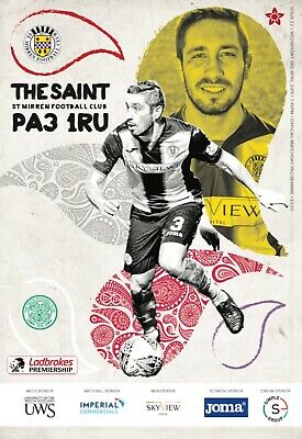 St Mirren v Celtic 2018/19 brand new football programme