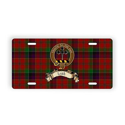 Leith Scottish Clan Tartan Novelty Auto Plate with Crest and Motto