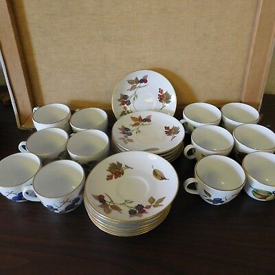 Royal Worcester EVESHAM Gold China Cups and Saucers 12 of each