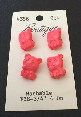 """4 Vintage 3/4"""" Realistic Novelty Figural Plastic Bear Animal Buttons"""