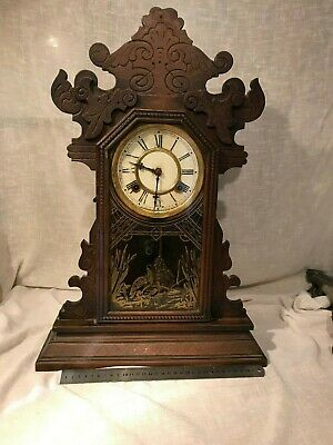 ANTIQUE CLOCK BY Waterbury Clock Company For Parts Needs TLC , FREE UK POSTAGE .