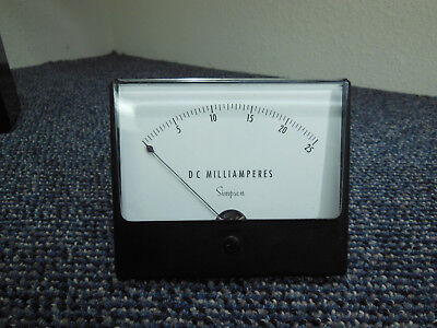 """Simpson DC 0-25 Milliamperes 2.75"""" Overall 4.75"""" x 4"""" ☆ Tested Working ☆ Clean ☆"""