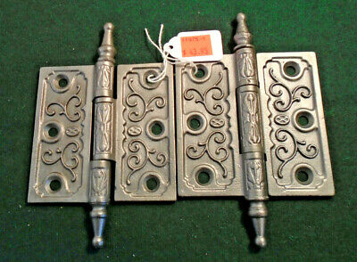 Pair Vintage Eastlake Hinges  3.5  X 3.5 Steeple Top  Beautiful (11975-1)