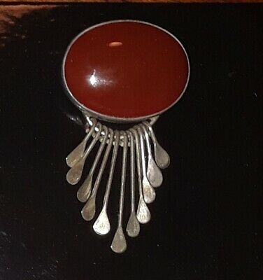 FABULOUS ☆Vtg Signed Mexico Sterling Silver Large Carnelian Pendant / Brooch Pin