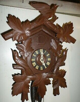 Rare Huge Antique German Black Forest Deeply Hand Carved 3 Bird Cuckoo Clock!