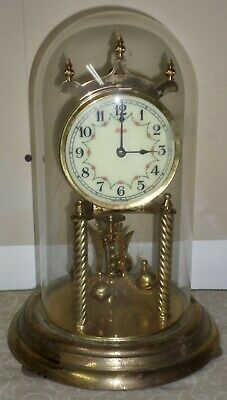 German Kienenger & Obergfell Kundo Brass & Glass 400 Day Torsion Mantel Clock!
