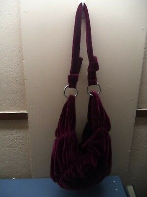 """Ruby Red Velvet-Feel Pleated Hand-Made Shoulder Bag 16"""" x 8"""" x 4"""" VGC Theater"""