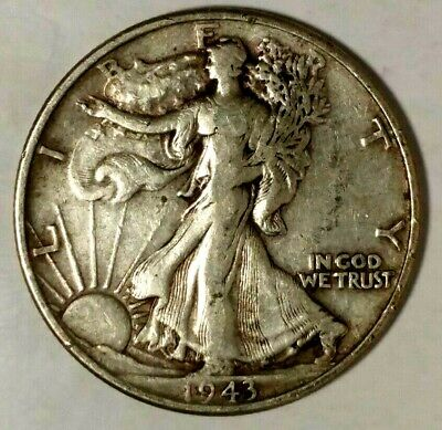 1943-P 50C Walking Liberty Half Dollar 19hua0207 90% Silver  50 cents shipping