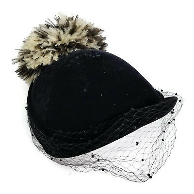Vintage Womens Small Hat Netted Veil Feather Pom Pom Equestrian Style black