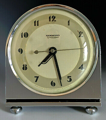 1930s Art Deco Chrome HAMMOND 'GRENADIER' Desk Clock w Alarm, gilbert rohde era