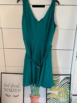 Oasis Green Silk Look Lace Belted A Line Occasion Party Dress Size 16 Vneck
