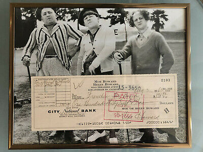 Three Stooges Moe Howard Signed Check with LOA and framed photo