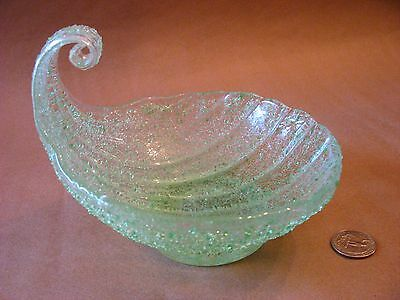 A vintage Murano Fratelli Toso green overshot glass shell bowl made in Italy