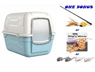 Blue Toilet Hooded Large Litter Tray Scoop Filter Covered Box Loo Toilet Train
