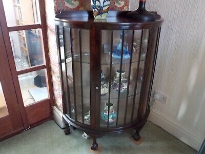 Antique Mahoghany Curved Display Cabinet with Ball & Claw feet - Collection Only