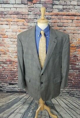 Jos A Bank Signature 48L Grey Glen Plaid FLANNEL WOOL Sport Coat Blazer Jacket