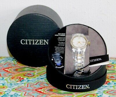 New Citizen Eco-Drive Silhouette Crystal 2-Tone Stainless Womens Watch FE1144-85