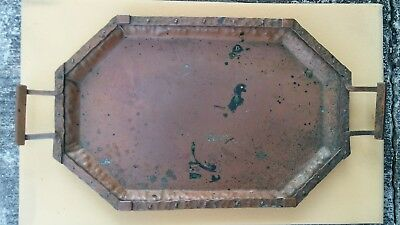 Antique Vintage Hammered Riveted Copper SERVING TRAY Arts & Crafts
