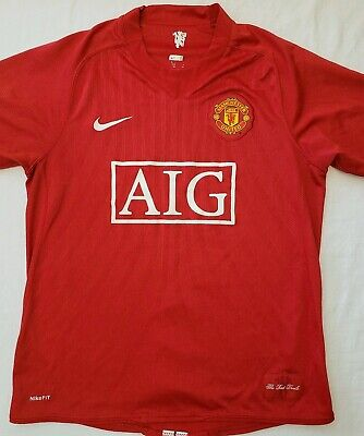 detailed look ade89 d8591 NIKE FIT DRY Manchester United Mens Red Devils AIG Soccer Jersey Barrett  Medium