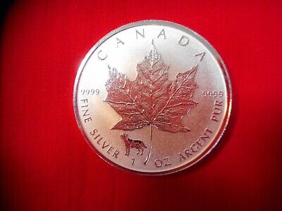 2018 $5 Dollar Canadian 1 Oz. Silver Maple Leaf W/dog Privy Reverse Proof
