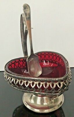Heart Shaped Dish Silverplate Red Glass Sheffield England Candy Condiment