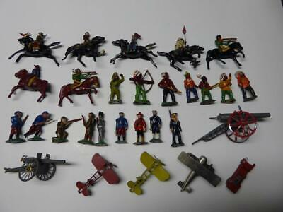 28 Old Lead Painted Soldiers, Indians, Cowboys & More Collection
