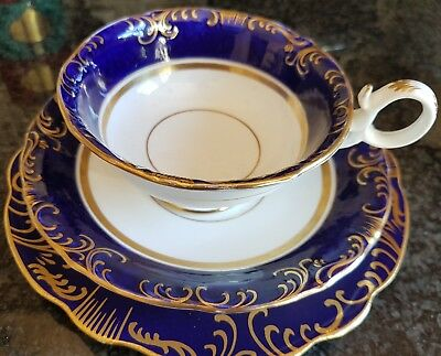 19thc Antique English China Cobalt blue trio ornate gilt cup saucer cake plate