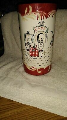 Ceramic two piece  cafe ceramic bowl and utensil holder matching